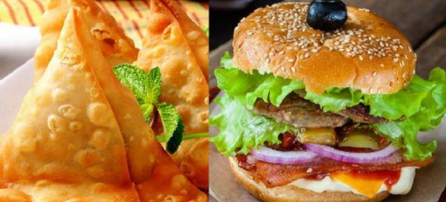 burger and samosa